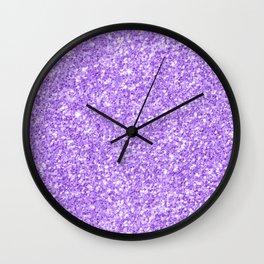 Purple glitter & sparkles texture print Wall Clock