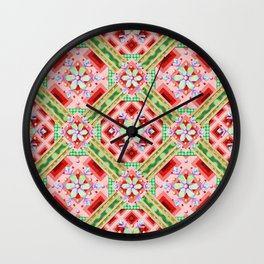 Groovy Folkloric Snowflakes Wall Clock