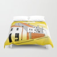 medieval Duvet Covers featuring Medieval houses by LaDa