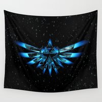 triforce Wall Tapestries featuring Zelda Triforce BlueFame by neutrone