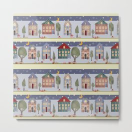 Kids patchwork seamless pattern with houses and trees Metal Print