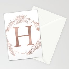 Letter H Rose Gold Pink Initial Monogram Stationery Cards