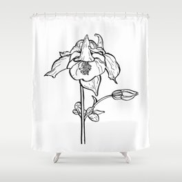Garden Flower Ink Drawing  Shower Curtain