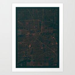 Houston Map Red Art Print