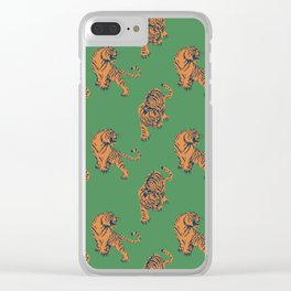 tiger print green Clear iPhone Case