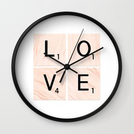 LOVE Scrabble Tiles on Custom Vector Wood Background Wall Clock