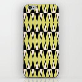 Mid Century Modern Diamond Pattern Black Chartreuse 231 iPhone Skin