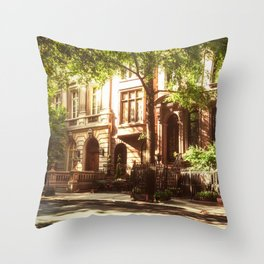 New York City Brownstones Throw Pillow
