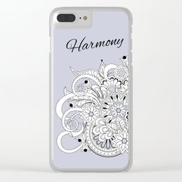 garmony floral tangled composition on the grey Clear iPhone Case