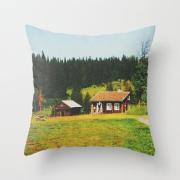 Cabin in the north of Sweden Throw Pillow