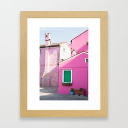Pink Houses, Burano Framed Art Print