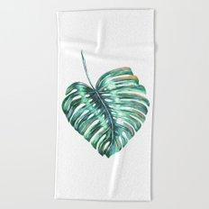 Monstera leaf green tropical watercolor Beach Towel