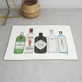 Gin Bottles Illustration Rug