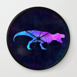 T-REX IN SPACE // Dinosaur Graphic Art // Watercolor Canvas Painting // Modern Minimal Cute Wall Clock