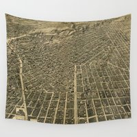 denver Wall Tapestries featuring Vintage Pictorial Map of Denver CO (1889) by BravuraMedia