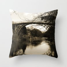 Worlds First Ironbridge over River Severn in England in sepia Throw Pillow