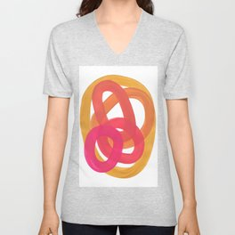 Warm Candy Colors Magenta Yellow Nesting Circles Ombre Unisex V-Neck