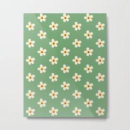 Retro Happy Daisy Flower in Green Metal Print