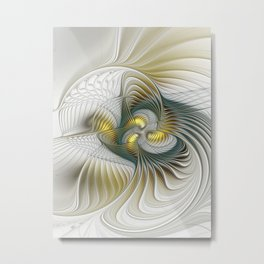 Noble And Golden, Abstract Modern Fractal Art Metal Print