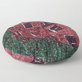 red brick house obstructed by trees linocut Floor Pillow