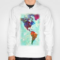 map Hoodies featuring Abstract Watercolor World Map by Gary Grayson