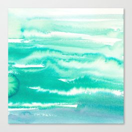 Modern hand painted teal turquoise watercolor brushstrokes Canvas Print