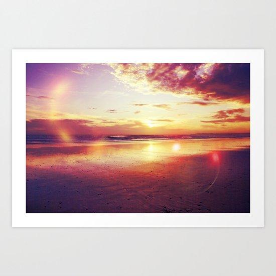Tropical sunset on a calm beach Art Print