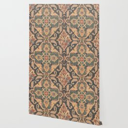 Geometric Leaves VI // 18th Century Distressed Red Blue Green Colorful Ornate Accent Rug Pattern Wallpaper