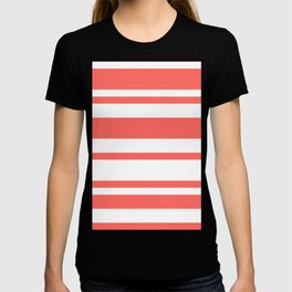 Mixed Horizontal Stripes - White and Pastel Red T-shirt