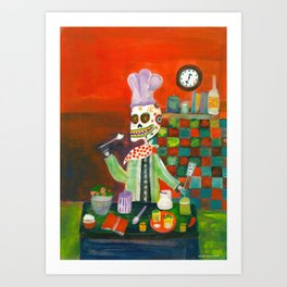 Day of the Dead Skeleton Chef  Art Print