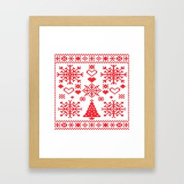 Christmas Cross Stitch Embroidery Sampler Red And White Framed Art Print