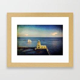 Biloxi Schooner and Lighthouse Framed Art Print