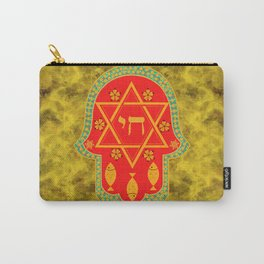 Hamsa for blessings, protection and strength - gold and red watercolor Carry-All Pouch