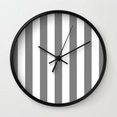 Vertical Stripes (Gray/White) Wall Clock