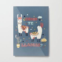Como te Llamas. Funny Spanish Word Humor. Potted Cacti and two Llamas Metal Print