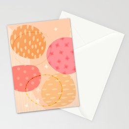 Planetary Dance (abstract in Berry & Citrus ) Stationery Cards