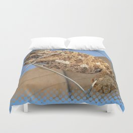Chameleon In Shades of Brown on Fence Duvet Cover