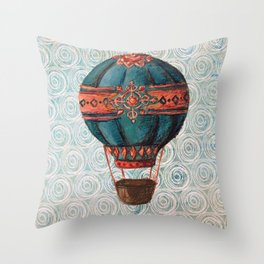 Vintage Hot Air Balloon: Navy and Coral Throw Pillow