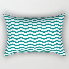 Teal and White Chevron Wave Rectangular Pillow
