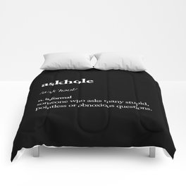 Askhole black and white contemporary minimalism typography design home wall decor bedroom Comforters