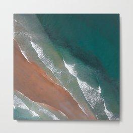 Emerald Copper Foamy Waves Metal Print