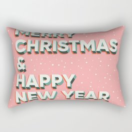 Merry Christmas and Happy New Year text lettering card design, pink Rectangular Pillow