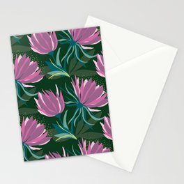 Dark and Moody Purple and Green Floral Stationery Cards