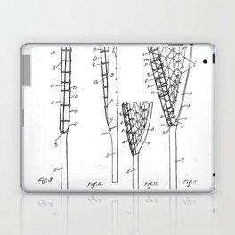 Lacrosse Stick Patent - Lacrosse Player Art - Black And White Laptop & iPad Skin