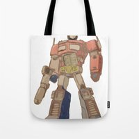 optimus prime Tote Bags featuring Optimus Prime by colleencunha