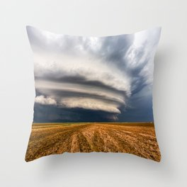 Vast - Supercell Thunderstorm Over Open Field in Kansas Throw Pillow