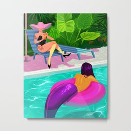 Sun bathing woman and mermaid Metal Print