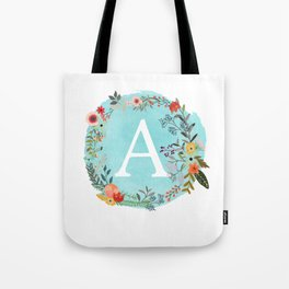 Personalized Monogram Initial Letter A Blue Watercolor Flower Wreath Artwork Tote Bag
