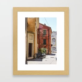 Italian Street and Bikes Framed Art Print