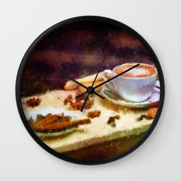Coffee and Cloves - Cozy Cafe Impressionist Painting Wall Clock